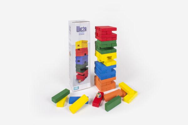 Jenga gra z kolorowymi klockami - do aktywizacji seniorów i osób dokniętych demencją, klocki i kostka do gry