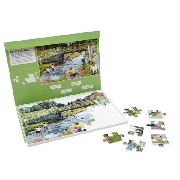 Duże puzzle dla osób z demencją przedstawiające wiosenny strumyk