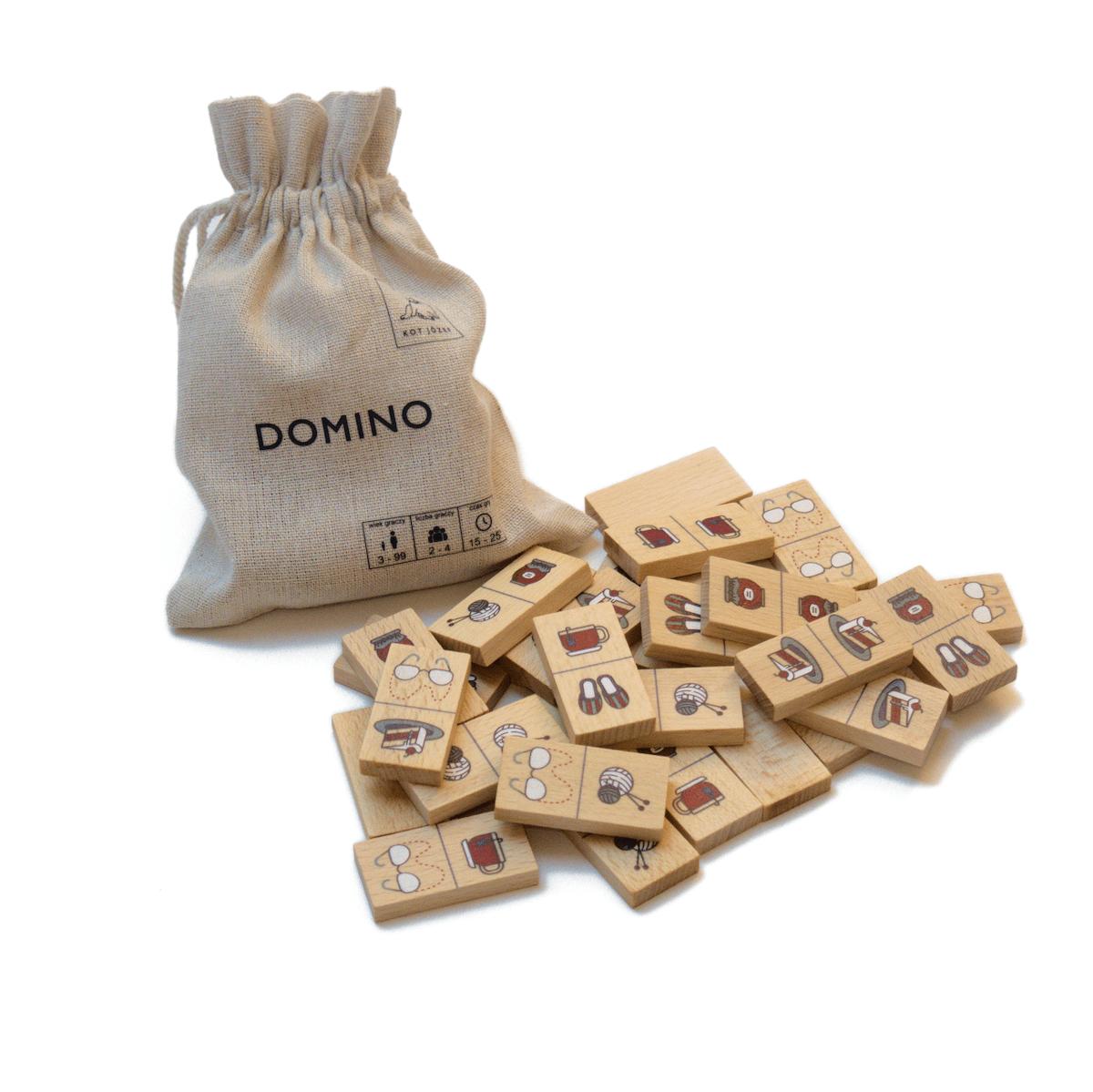 Domino dla babci i dziadka, drewniane w worku