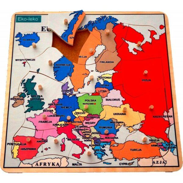 mapa Europy - układanka drewniana