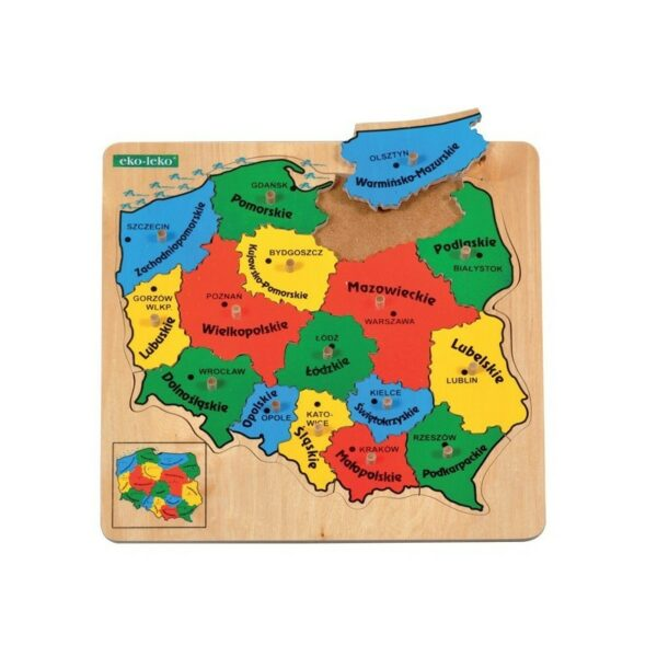 układanka - mapa polski drewniana